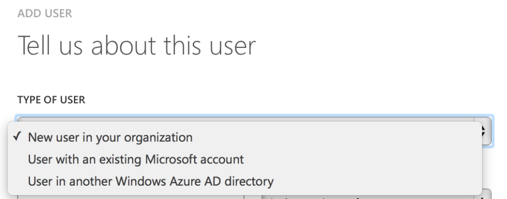 Management Portal → Azure AD → Tenant → Users → AddManagement Portal --> Azure AD --> Tenant --> Users --> Add
