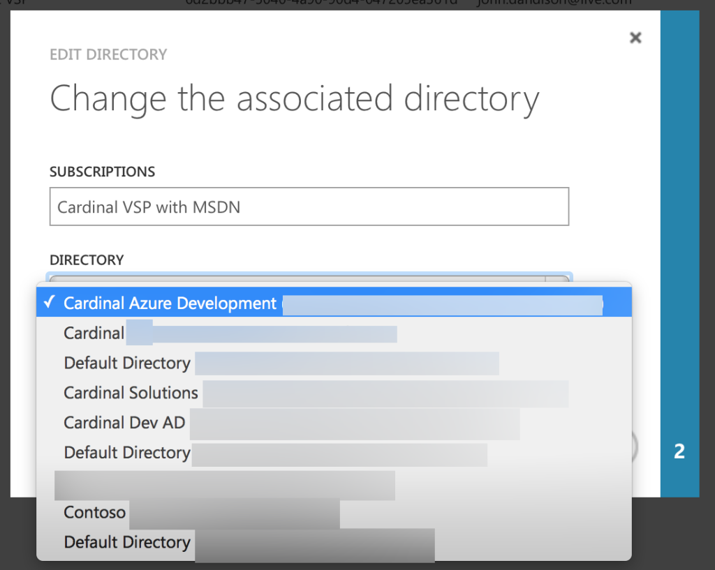 You'll see a list of all of the Azure AD Tenants that MSA has access to.You'll see a list of all of the Azure AD Tenants that MSA has access to.
